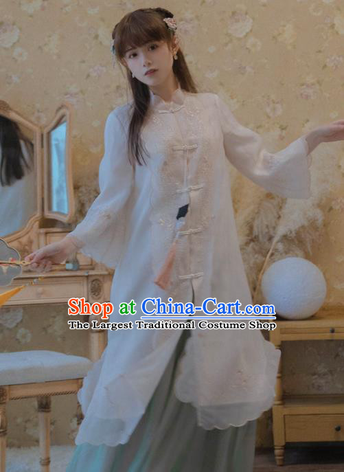 Chinese National Classical Embroidered White Silk Coat Traditional Tang Suit Upper Outer Garment for Women