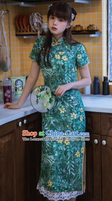 Chinese National Printing Green Cheongsam Traditional Classical Tang Suit Qipao Dress for Women