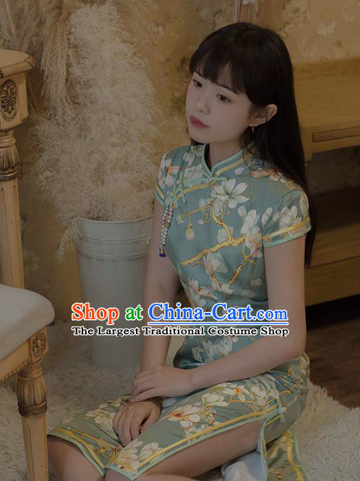 Chinese National Printing Mangnolia Green Cheongsam Traditional Classical Tang Suit Qipao Dress for Women