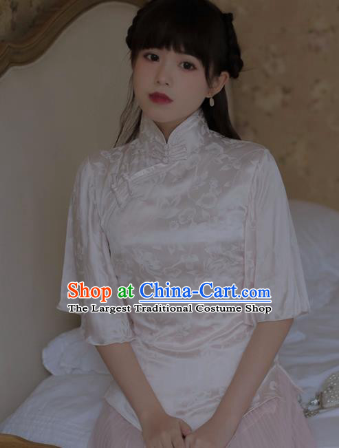 Chinese National Classical White Silk Qipao Blouse Traditional Tang Suit Upper Outer Garment for Women