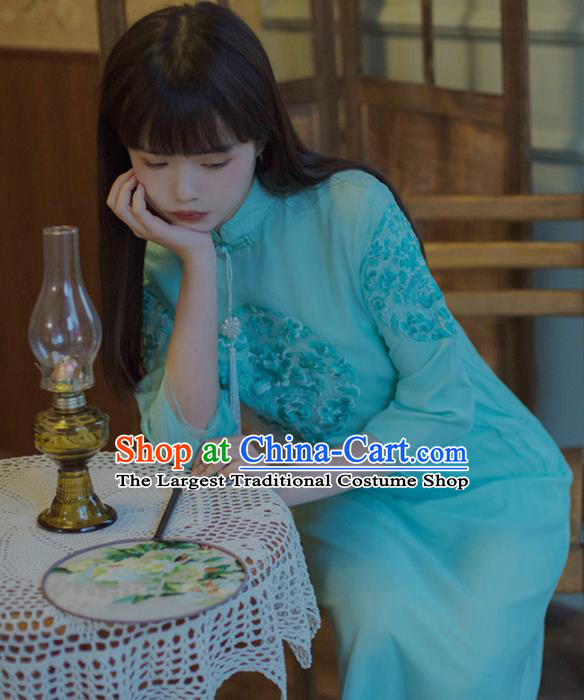Chinese National Embroidered Green Cheongsam Traditional Classical Tang Suit Qipao Dress for Women