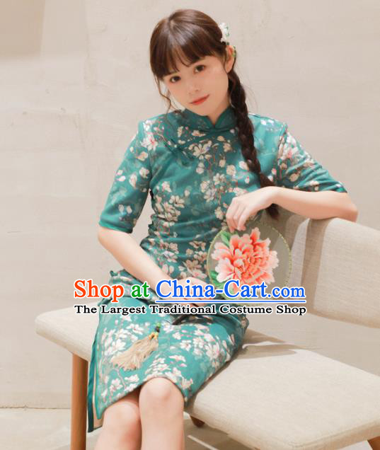 Traditional Chinese National Printing Green Cheongsam Classical Tang Suit Qipao Dress for Women