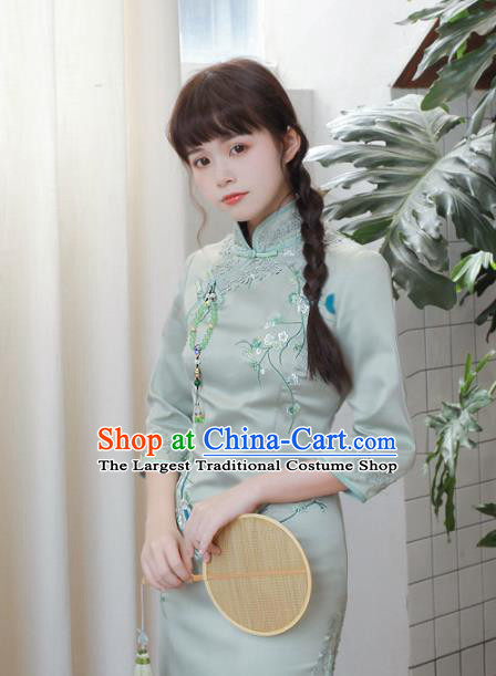 Traditional Chinese National Embroidered Green Cheongsam Classical Tang Suit Qipao Dress for Women