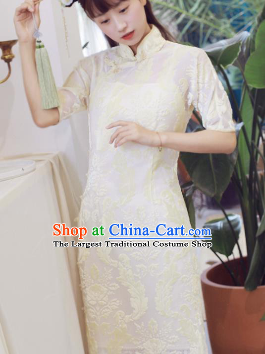 Traditional Chinese National Embroidered White Cheongsam Classical Tang Suit Qipao Dress for Women