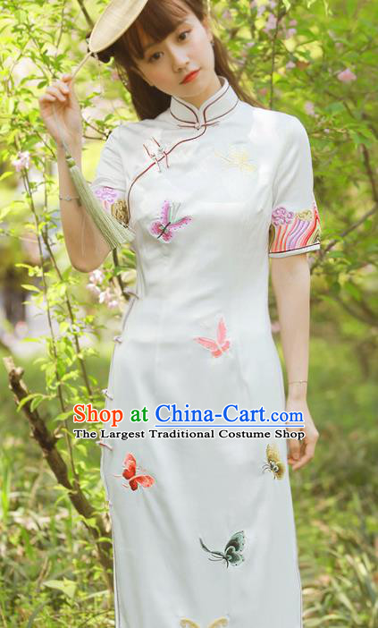 Traditional Chinese National Embroidered Butterfly White Cheongsam Classical Tang Suit Qipao Dress for Women