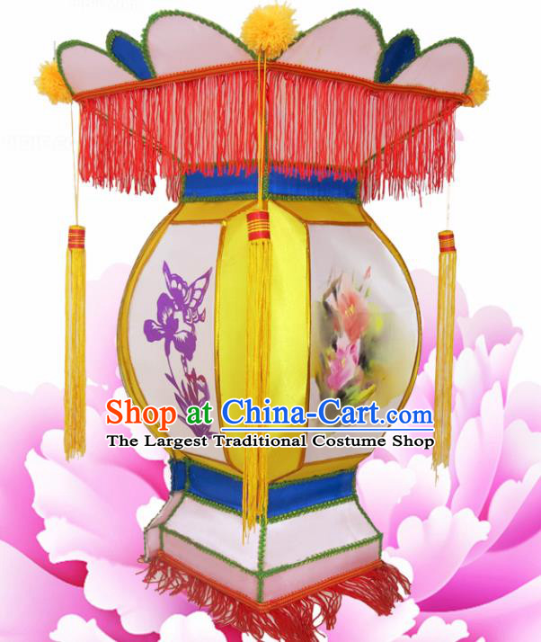 Handmade Chinese Palace Lanterns Traditional Printing Orchid Yellow Lantern Ancient Ceiling Lamp