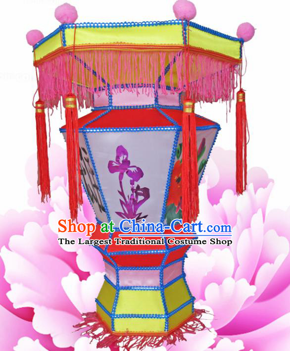 Handmade Chinese Palace Lanterns Traditional Printing Orchid Red Lantern Ancient Ceiling Lamp