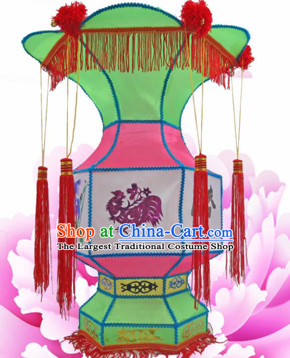Handmade Chinese Green Palace Lanterns Traditional New Year Lantern Ancient Ceiling Lamp