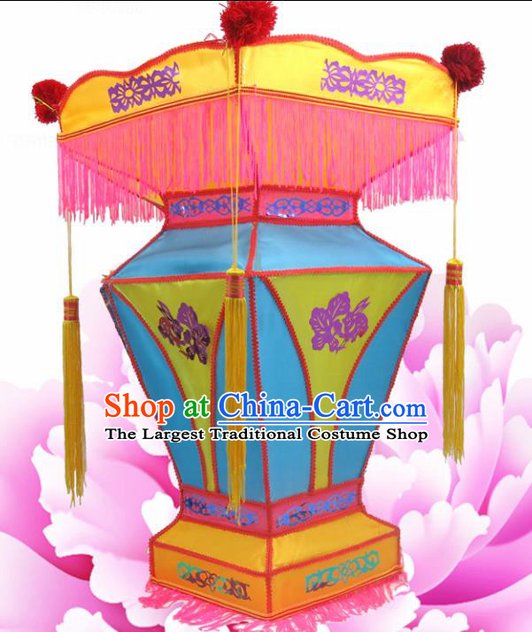 Handmade Chinese Blue Palace Lanterns Traditional New Year Lantern Ancient Ceiling Lamp