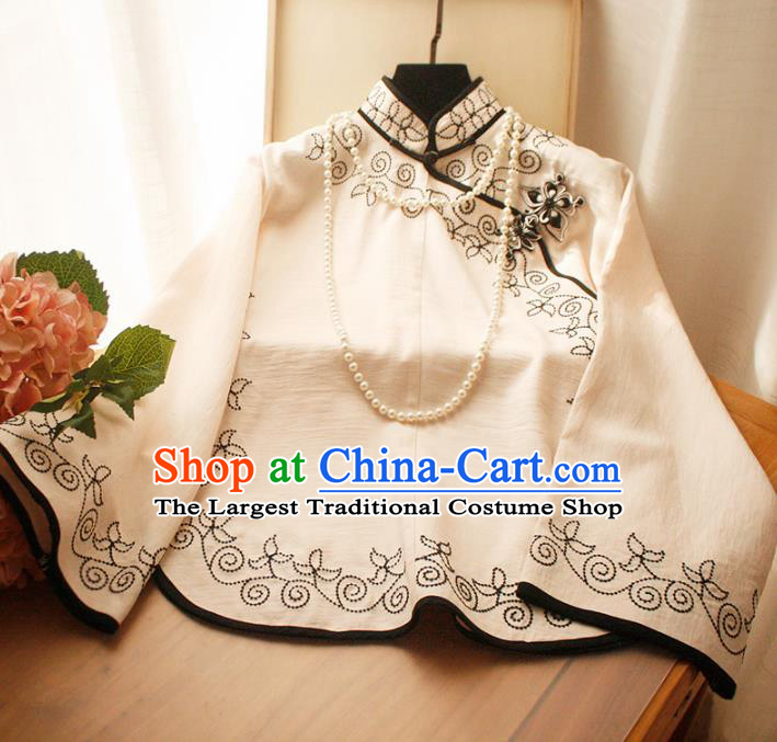 Chinese National Classical Beige Blouse Traditional Tang Suit Upper Outer Garment for Women