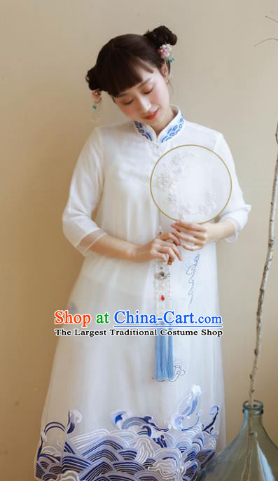 Traditional Chinese National Embroidered White Organza Cheongsam Classical Tang Suit Qipao Dress for Women