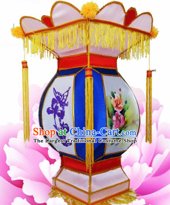 Chinese Handmade Blue Palace Lanterns Traditional New Year Lantern Ancient Ceiling Lamp