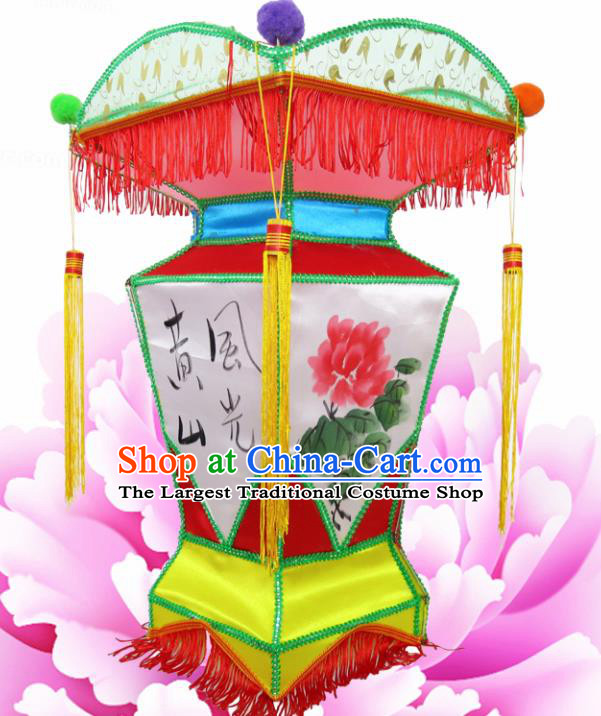 Chinese Handmade Ink Painting Peony Palace Lanterns Traditional New Year Lantern Ancient Ceiling Lamp