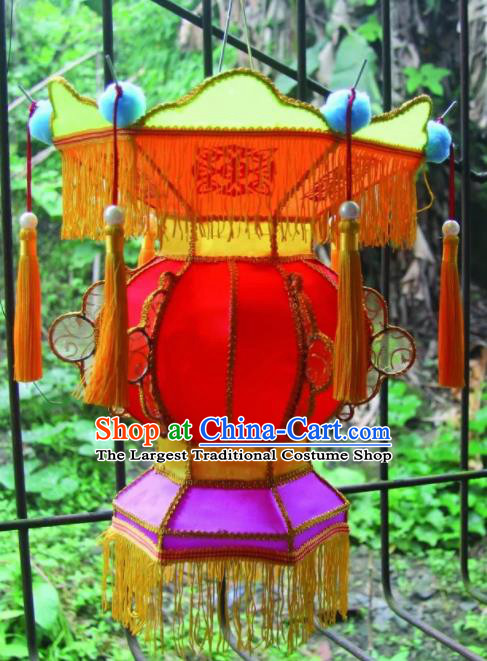 Chinese Handmade Yellow Tassel Palace Lanterns Traditional New Year Lantern Ancient Ceiling Lamp