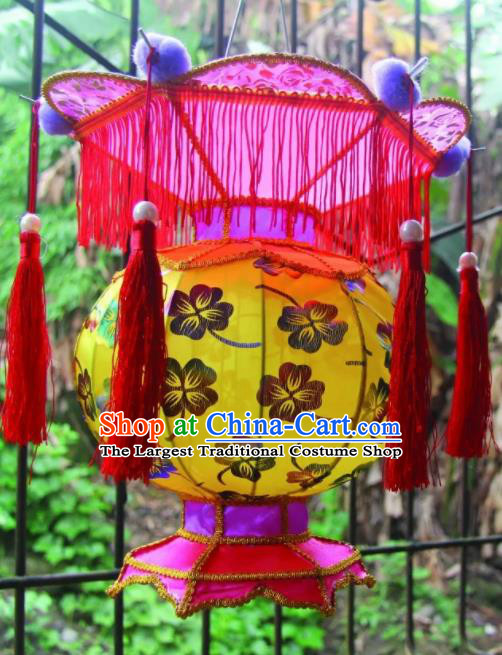 Chinese Handmade Yellow Palace Lanterns Traditional New Year Lantern Ancient Ceiling Lamp