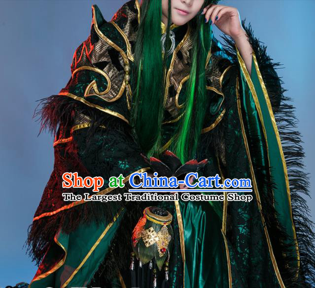 Chinese Traditional Cosplay Royal Highness Feather Costume Ancient Swordsman Hanfu Clothing for Men