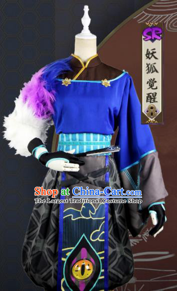 Chinese Traditional Cosplay Taoist Priest Blue Costume Ancient Swordsman Hanfu Clothing for Men