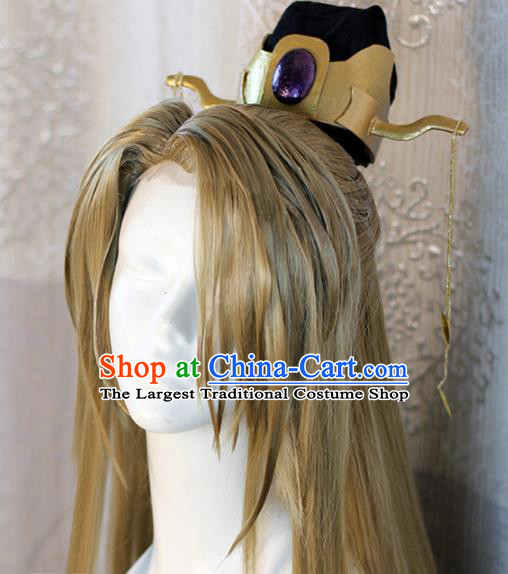 Chinese Traditional Cosplay Prince Golden Wig Ancient Swordsman Wig Sheath for Men