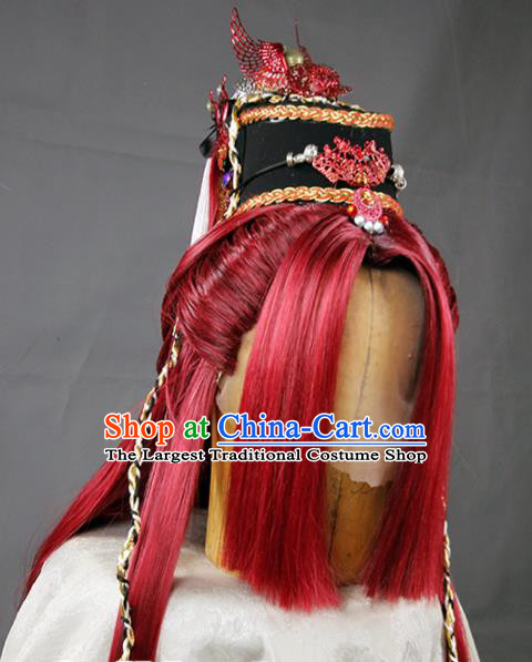 Chinese Traditional Cosplay Prince Red Wig Ancient Swordsman Wig Sheath for Men