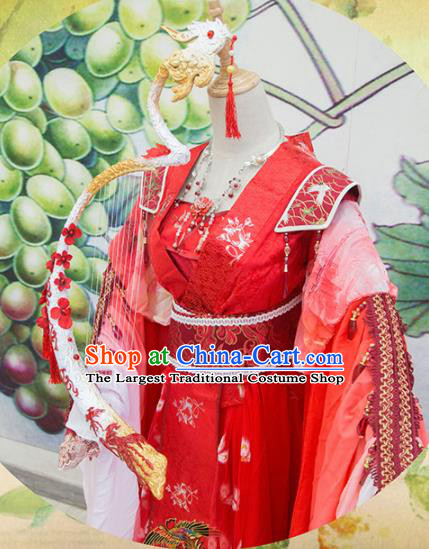 Chinese Traditional Cosplay Swordswoman Wedding Costume Ancient Tang Dynasty Princess Red Hanfu Dress for Women