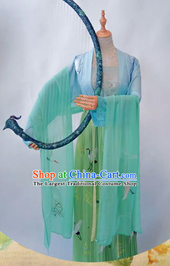 Chinese Traditional Cosplay Costume Ancient Ming Dynasty Princess Green Hanfu Dress for Women