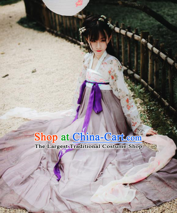 Traditional Chinese Tang Dynasty Young Lady Costume Ancient Court Maid Hanfu Dress for Women