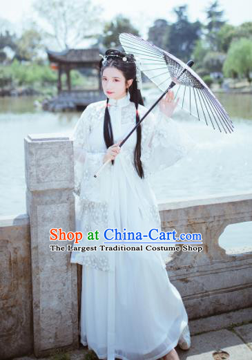 Chinese Ancient White Hanfu Dress Traditional Ming Dynasty Nobility Lady Costume for Women