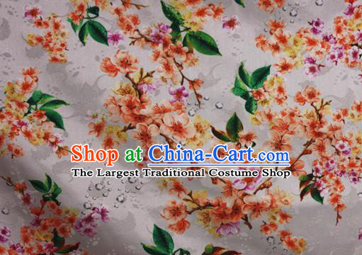 Chinese Traditional Fabric Classical Peach Blossom Pattern Design White Brocade Cheongsam Satin Material Silk Fabric