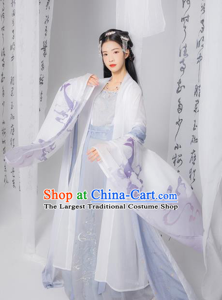 Chinese Ancient Tang Dynasty Princess Embroidered Hanfu Dress Traditional Historical Costume for Women