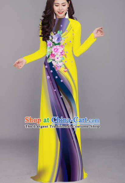 Vietnam Traditional Printing Flowers Yellow Aodai Cheongsam Asian Costume Vietnamese Bride Classical Qipao Dress for Women
