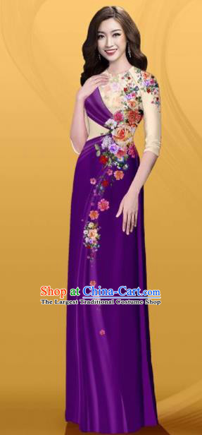 Vietnam Traditional Printing Roses Purple Aodai Cheongsam Asian Costume Vietnamese Bride Classical Qipao Dress for Women