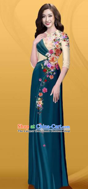 Vietnam Traditional Printing Roses Atrovirens Aodai Cheongsam Asian Costume Vietnamese Bride Classical Qipao Dress for Women