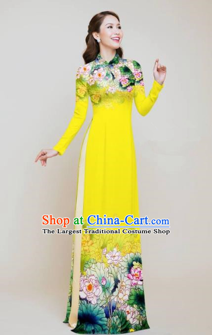 Vietnam Traditional Costume Printing Lotus Yellow Aodai Cheongsam Asian Vietnamese Bride Classical Qipao Dress for Women