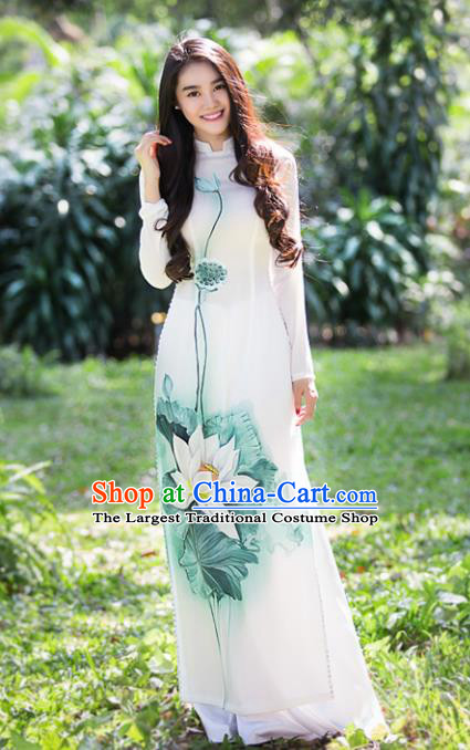 Vietnam Traditional Wedding Printing Lotus Aodai Cheongsam Asian Vietnamese Bride Classical Qipao Dress for Women