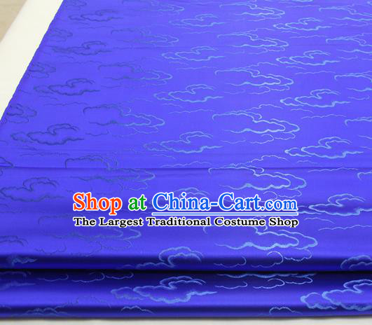 Chinese Traditional Tang Suit Royal Clouds Pattern Royalblue Brocade Satin Fabric Material Classical Silk Fabric
