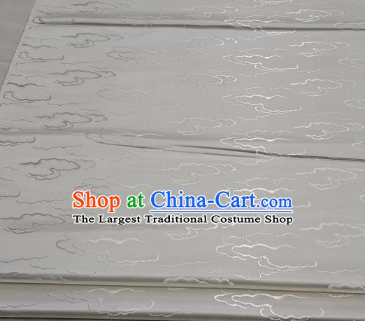 Chinese Traditional Tang Suit Royal Clouds Pattern White Brocade Satin Fabric Material Classical Silk Fabric