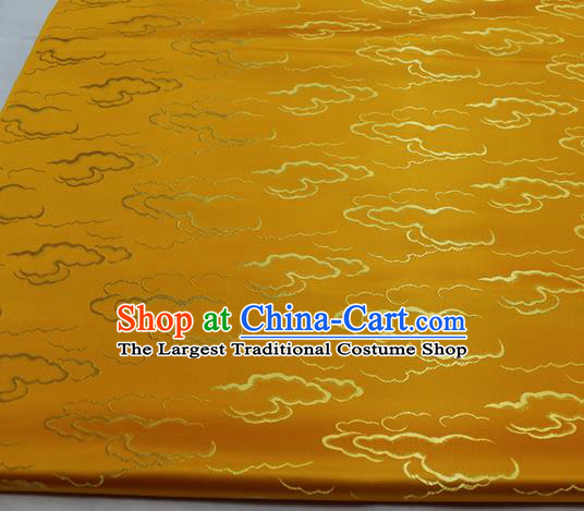 Chinese Traditional Tang Suit Royal Clouds Pattern Golden Brocade Satin Fabric Material Classical Silk Fabric
