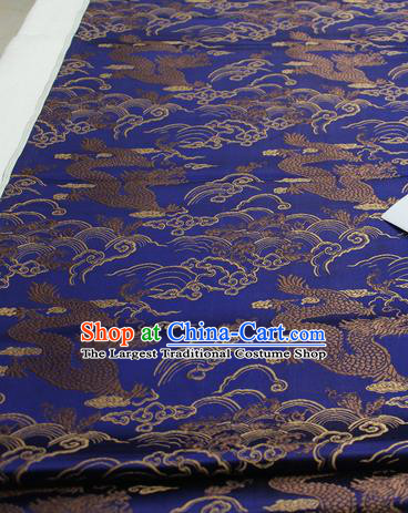 Asian Chinese Traditional Tang Suit Royal Cloud Dragon Pattern Royalblue Brocade Satin Fabric Material Classical Silk Fabric