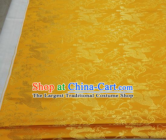 Asian Chinese Traditional Tang Suit Royal Cloud Dragon Pattern Golden Brocade Satin Fabric Material Classical Silk Fabric