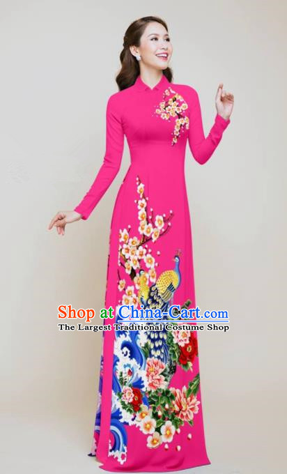 Vietnam Traditional Printing Peacock Peony Rosy Aodai Cheongsam Asian Vietnamese Bride Classical Qipao Dress for Women