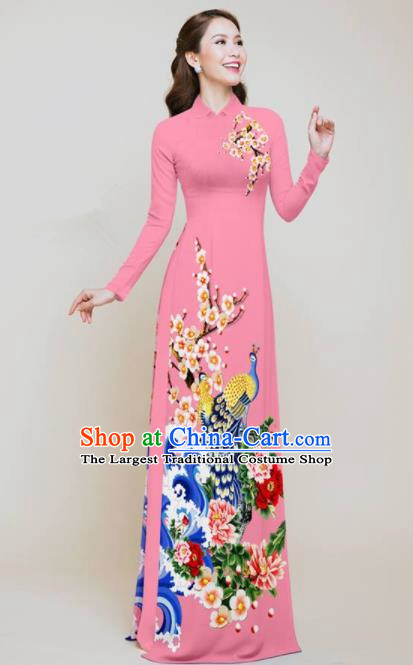 Vietnam Traditional Printing Peacock Peony Pink Aodai Cheongsam Asian Vietnamese Bride Classical Qipao Dress for Women