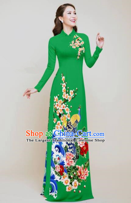 Vietnam Traditional Printing Peacock Peony Green Aodai Cheongsam Asian Vietnamese Bride Classical Qipao Dress for Women