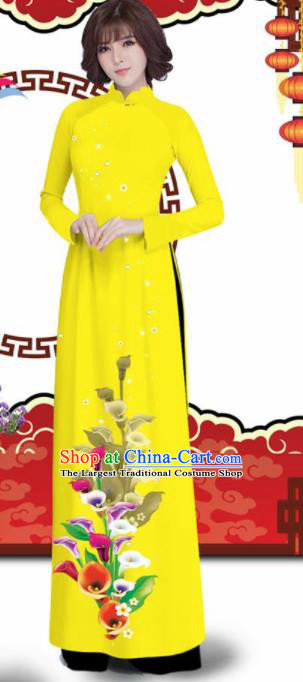 Vietnam Traditional Printing Alocasia Yellow Aodai Qipao Dress Asian Vietnamese Bride Classical Cheongsam for Women
