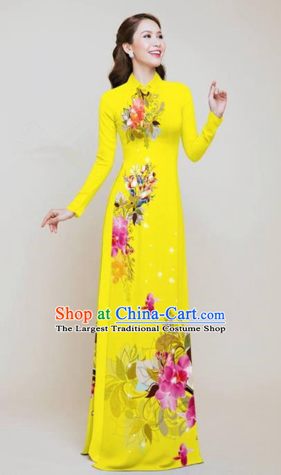 Vietnam Traditional Printing Flowers Yellow Aodai Qipao Dress Asian Vietnamese Bride Classical Cheongsam for Women