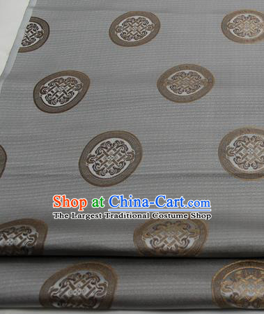 Chinese Traditional Tang Suit Fabric Royal Lucky Pattern Grey Brocade Material Hanfu Classical Satin Silk Fabric
