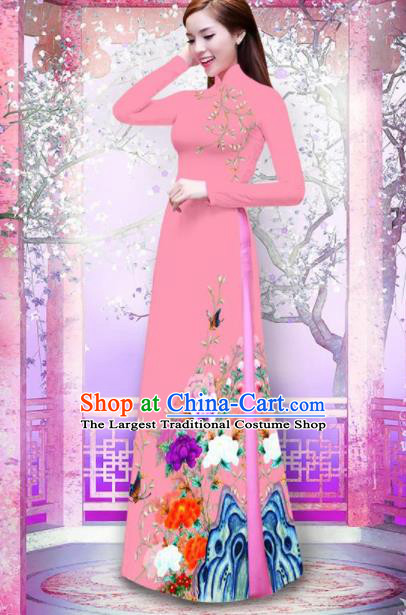 Vietnam Traditional Printing Peony Pink Ao Dai Dress Asian Vietnamese Bride Classical Cheongsam for Women