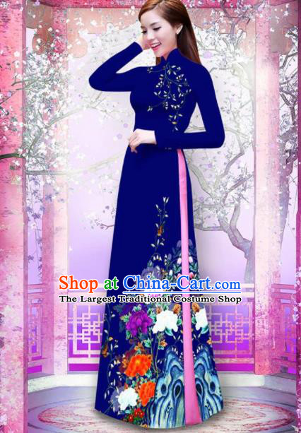 Vietnam Traditional Printing Peony Navy Ao Dai Dress Asian Vietnamese Bride Classical Cheongsam for Women