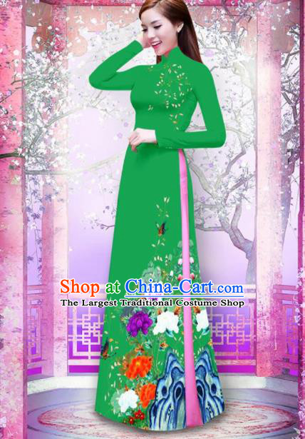Vietnam Traditional Printing Peony Deep Green Ao Dai Dress Asian Vietnamese Bride Classical Cheongsam for Women