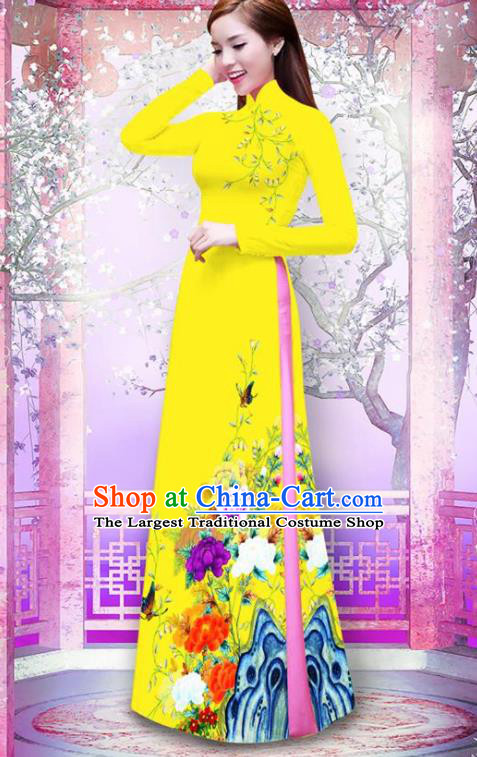 Vietnam Traditional Printing Peony Yellow Ao Dai Dress Asian Vietnamese Bride Classical Cheongsam for Women
