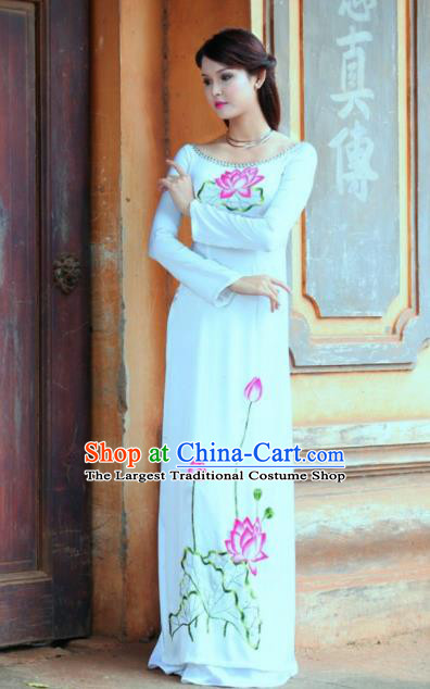 Vietnam Traditional Printing Lotus White Ao Dai Dress Asian Vietnamese Bride Classical Cheongsam for Women